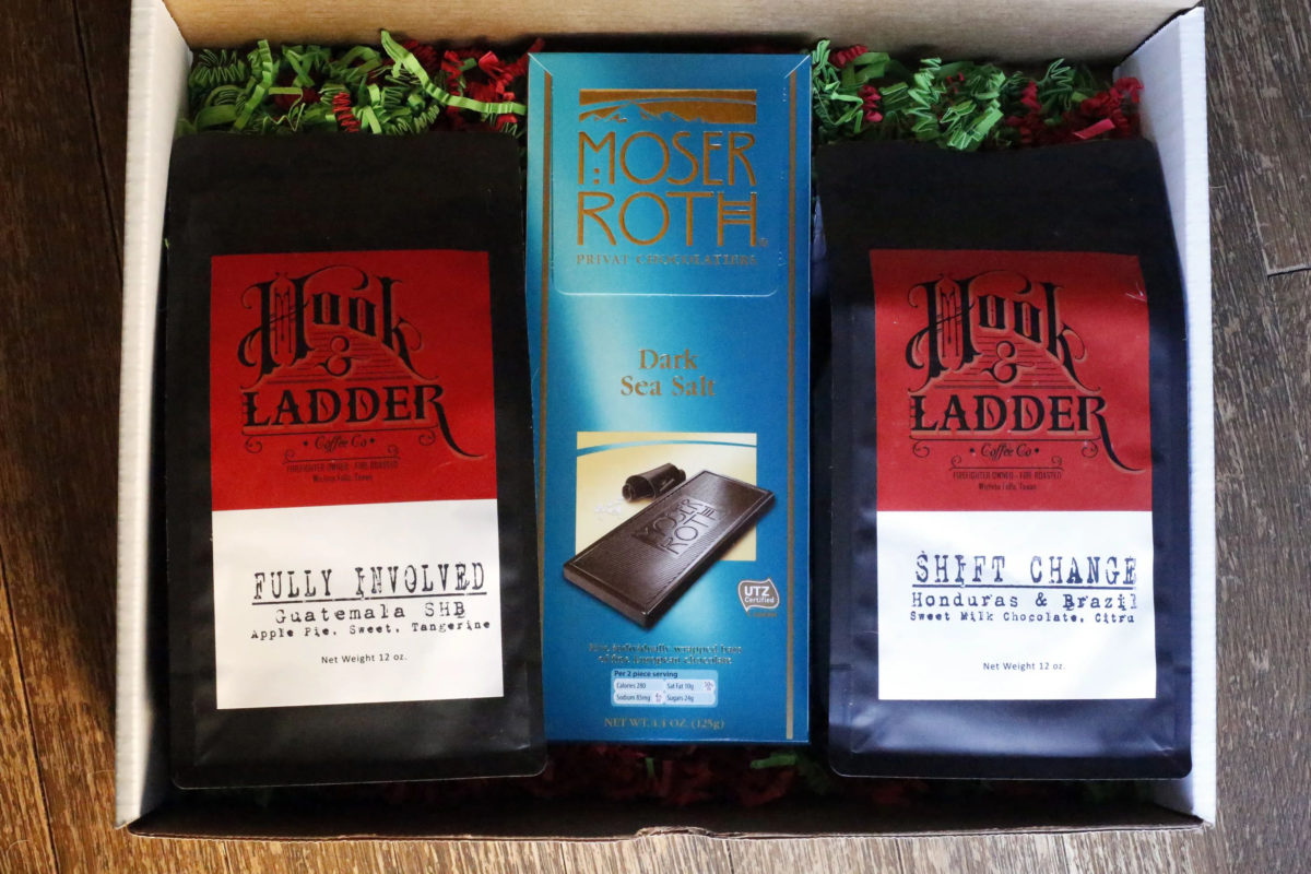 coffee gift set with chocolate